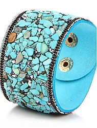 Women's Bangles Leather Bracelet Bohemian Birthstones Costume Jewelry Leather Gem Turquoise Jewelry Jewelry For Party Daily
