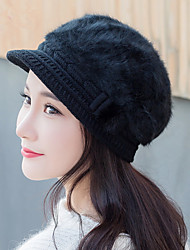 Fashion New Autumn And Winter Women Bow Hair Rabbit Cap Warm Knit Hat