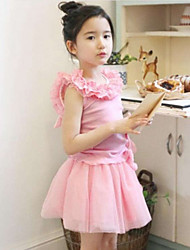 Girl Casual/Daily Patchwork Sets,Cotton Blend Mesh Summer Sleeveless Clothing Set