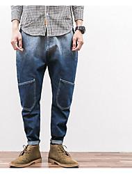 Masculino Tamanhos Grandes Solto Jeans Chinos Calças-Cor Única Color Block Casual Vintage Simples Patchwork Cintura Média Zíper Algodão