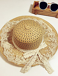 Girl's Fashion Cotton Summer Going out/Casual/Daily Solid Color Lace Sand Beach Headgear Straw Hat Children Cap