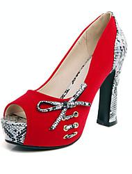 Femme Chaussures à Talons Laine synthétique Printemps Eté Automne Décontracté Soirée & Evénement Noeud Gros Talon Noir Rouge Bleu10 à 12