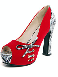 Women's Heels Fleece Spring Summer Fall Casual Party & Evening Bowknot Chunky Heel Black Ruby Blue 4in-4 3/4in