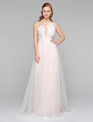 Lanting Bride® Trapèze Robe de Mariage  - Chic & Moderne Transparent Traîne Tribunal Bateau Tulle avecFleur Ceinture / Ruban Drapée sur