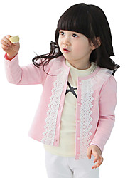 Girl's Cotton Fashion Sweet Spring/Fall Going out/Casual/Daily Lace Ruffle Long Sleeve Cardigan Kid Jacket Children Coat