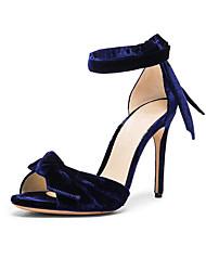 Feminino-Sandálias-Outro-Salto Agulha-Azul Real-Flanelado-Escritório & Trabalho Social Casual Festas & Noite
