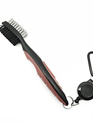 Golf Club Ball BrushPro Retractable Dual-Bristle Brush Groove Cleaner(Black& Red)