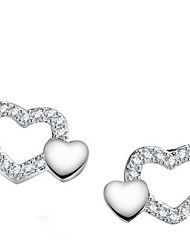 Stud Earrings Love Sterling Silver Heart Silver Jewelry For Party Casual 1 pair