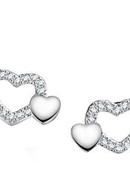 Stud Earrings Sterling Silver Heart Silver Jewelry Casual 1 pair