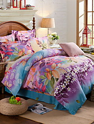Solid Duvet Cover Sets 1 Piece Cotton Poly/Cotton Pattern Reactive Print Cotton Poly/Cotton Twin4pcs (1 Duvet Cover, 1 Flat Sheet, 2
