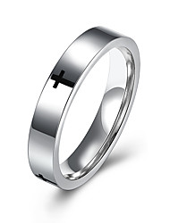 New Black Cross Pattern 316L Stainless Steel Rings Men's 4MM Band Wedding Engagement Finger Ring Man US Size 7-10 R079