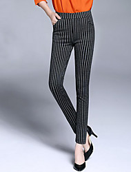 Women's Skinny Chinos Pants,Casual/Daily Party/Cocktail Simple Striped High Rise Elasticity Rayon Polyester Spandex Stretchy Fall Winter