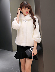 Women's Casual/Daily Sexy Coat,Solid ¾ Sleeve White Black Wool