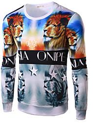 Tee-shirt Hommes,Imprimé Décontracté / Quotidien Bohème Printemps Automne Manches Longues Col Arrondi Multi-couleur Coton Moyen