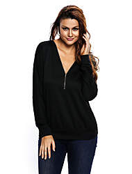 Women's Zip Up V Neck Loose Fit Sweatshirt