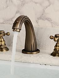 Brass Antique Deck Mount Dual Handles Basin Faucet 3Pcs Bathroom Lavatory Washbasin Mixer Tap