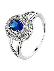 Brand White Gold plated Sapphire-Blue Jewelry Wedding Silver Ring for Women Blue Zircon Classic Finger Jewelry Anillos