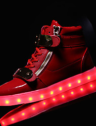 Men's Sneakers Fall Winter Comfort PU Outdoor Flat Heel Zipper Lace-up Magic Tape Blue Red