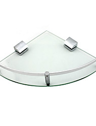 Zinc Alloy  Glass Bathroom Corner Shelf Bracket - Silver