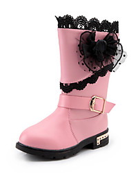 Girl's Boots Spring Fall Winter Comfort PU Casual Low Heel Magic Tape Black Red White Other