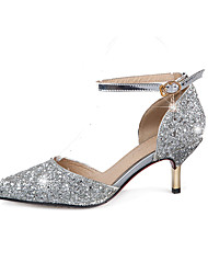 Damen-High Heels-Hochzeit Büro Party & Festivität-Glanz-StöckelabsatzGold Silber