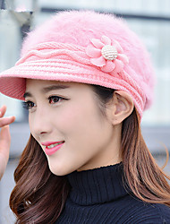 Winter A New Flower Rabbit Hair Caps Outdoor Warm Women Caps Caps Knitted Cap
