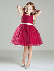 Princess Knee-length Flower Girl Dress - Cotton Crepe Jewel with Bow(s) Pick Up Skirt