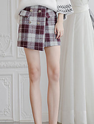 Women's Petite A Line Solid Skirts,Going out Cute High Rise Mini Button Polyester Micro-elastic Fall Winter