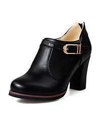 Damen-High Heels-Lässig-PU-BlockabsatzSchwarz Beige