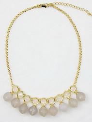 Femme Colliers Déclaration Forme de Fleur Agate Imitation Diamant Alliage A Fleurs Blanc Bijoux Pour Quotidien Décontracté 1pc