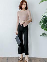 Femme Boot Cut Chino Pantalon,Street Chic Sortie Décontracté / Quotidien Couleur Pleine Taille Normale Cordon Nylon Micro-élastiqueSangle
