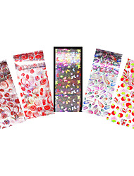 5pcs Nail Art Foil Transfer Sticker Colored Butterfly Feather Starry Sky for Women Manicures Tips Tool