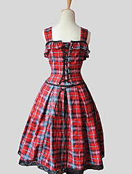 One-Piece/Dress Sweet Lolita Princess Cosplay Lolita Dress Red Plaid Sleeveless Knee-length Dress For Cotton