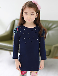 Girl's Cotton Fashion Spring/Autumn Going out/Casual/Daily Solid Color Long Sleeve Pearl T-shirt Children Blouse