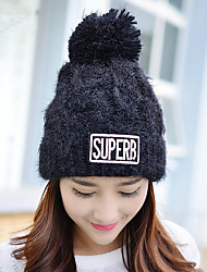 Fashion New Autumn And Winter Women 'S Letters Wool Jackets Plus Velvet Thick Sets Of Knitted Hats