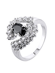Ring AAA Cubic Zirconia Simple Style Fashion Zircon Alloy Black Jewelry For Casual 1pc