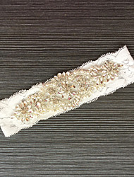 Garter Lace Lace Rhinestone Ivory