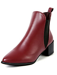 Women's Boots Fall Comfort PU Casual Low Heel Black Burgundy