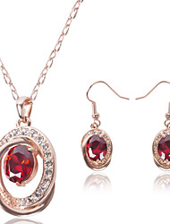 Jewelry Set Ruby Crystal Gemstone Simulated Diamond Alloy Red Wedding Party Daily Casual 1set 1 Pair of Earrings Necklaces RingsWedding