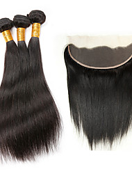 Natural Color Human Hair Weaves with Lace Frontal Brazilian Virgin Hair Straight 4 Pieces