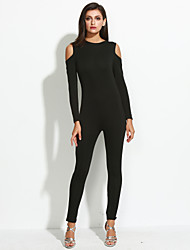 Women's Solid Black JumpsuitsSexy / Simple Round Neck Long Sleeve