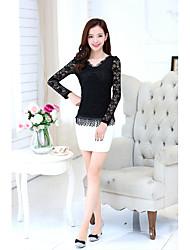 Sign new Korean Women Slim thin V-neck long-sleeved shirt shirt tops stream Su Leisi