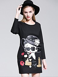 Women's Casual/Daily Simple T Shirt Dress,Floral Round Neck Above Knee Long Sleeve Black Polyester Spring Mid Rise Inelastic Medium