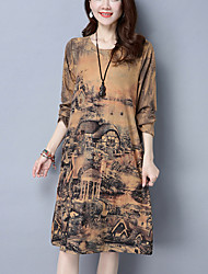 Women's Casual/Daily Street chic Loose Dress Print Round Neck Knee-length Yellow /Purple Cotton /Linen Spring /Fall