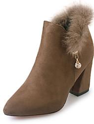 Women's Boots Fall Winter Other PU Fleece Office & Career Casual Chunky Heel Rhinestone Chain Black Army Green Khaki