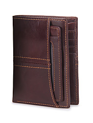 Contacts Genuine Leather Short Thin Wallet with Passcase Card Holder Sports Casual Outdoor Office & Career Shopping Wallet