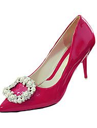 Damen-High Heels-Lässig-PU-Stöckelabsatz-Komfort-Schwarz Rosa Rot