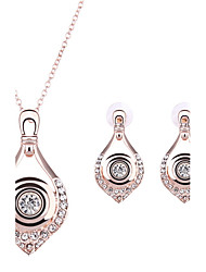 Women Wedding Party Water Drops Rhinestones  Rose Gold Clavicle Chain Necklace Earrings Two-piece
