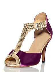 Women's Sandals Summer Other Satin Leatherette Dress Stiletto Heel Buckle Split Joint Purple Gray Light Pink Fitness & Cross Training