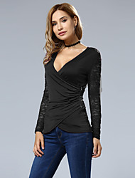 Damen Patchwork Sexy Lässig/Alltäglich T-shirt,V-Ausschnitt Herbst Winter Langarm Polyester Mittel